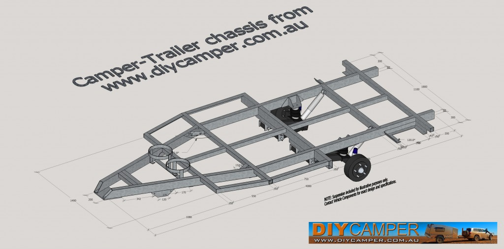 Sketchup 3D CAD camper trailer chassis